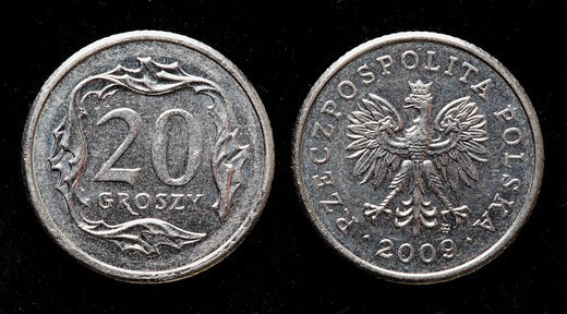 20 Groszy coin, Poland, 2009 : Stock Photo