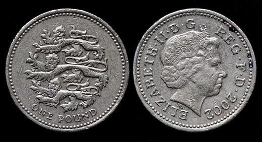1 pound coin, UK, 2002 : Stock Photo