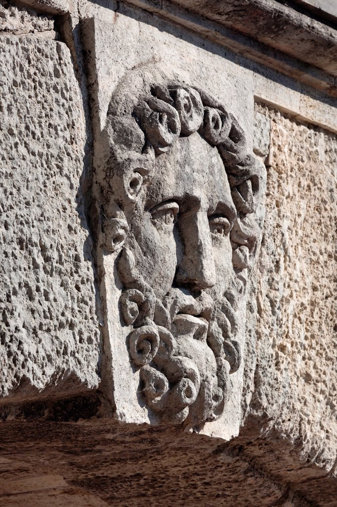 Stock Photo: 1566-1105508 Russia, Saint Petersburg, Pushkin-Tsarskoye Selo, relief of face on the Cameron Gallery footbridge