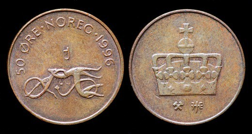 50 Ore coin, Norway, 1996 : Stock Photo