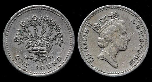 1 pound coin, UK, 1991 : Stock Photo