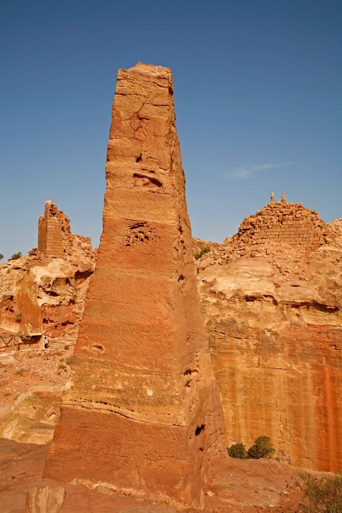 Stock Photo: 1566-1106324 The obelisks marking the entrance to the High Place of Sacrifice, Petra, Jordan