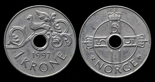 1 Krone coin, Norway, 1997 : Stock Photo