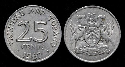 25 cents coin, Trinidad and Tobago, 1967 : Stock Photo