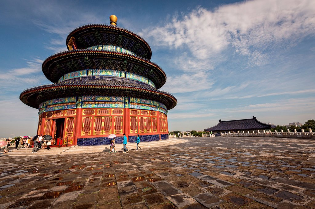 Stock Photo: 1566-1106712 View of the Hall of Prayer for Good Harvests known as the Temple of Heaven during summer in Beijing, China