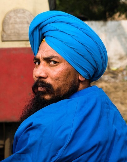 All Blue! Portrait of a Sikh man taken in Amritsar. : Stock Photo