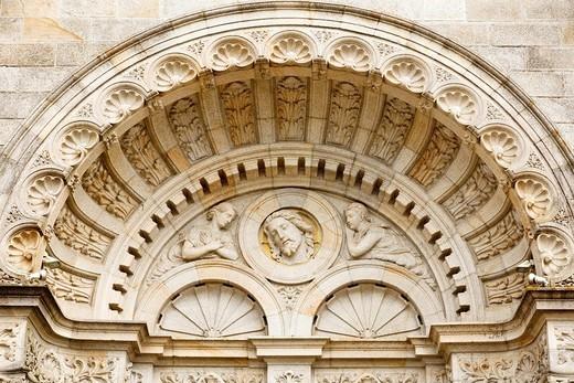 Tympanum on the Basilica at Sainte Anne d´Auray, Morbihan, Brittany, France : Stock Photo