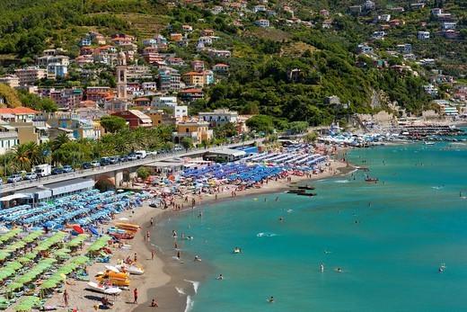 Beach at Moneglia, Riviera di Levante, Province of Genoa, Liguria, Italy : Stock Photo