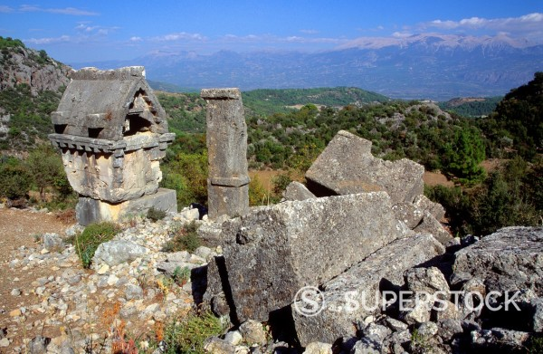 Stock Photo: 1566-1107825 Harpy tomb, Pinara, Lycian city, Turkey