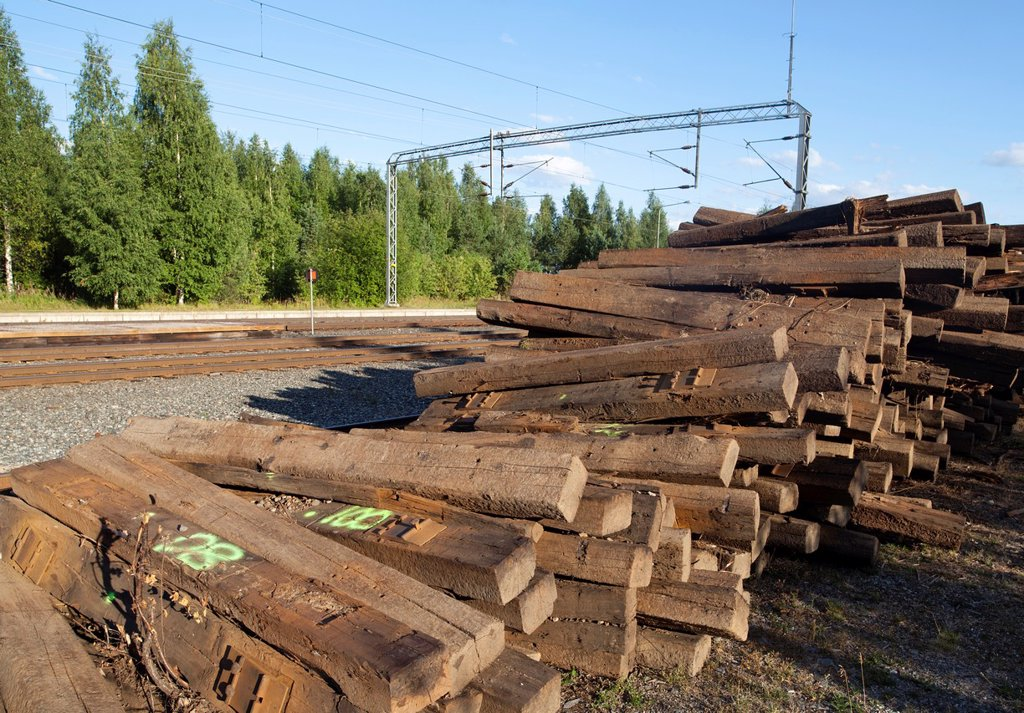 Stock Photo: 1566-1108032 Pile of old decommisioned wooden railroad sleepers  Location Suonenjoki Finland Scandinavia Europe