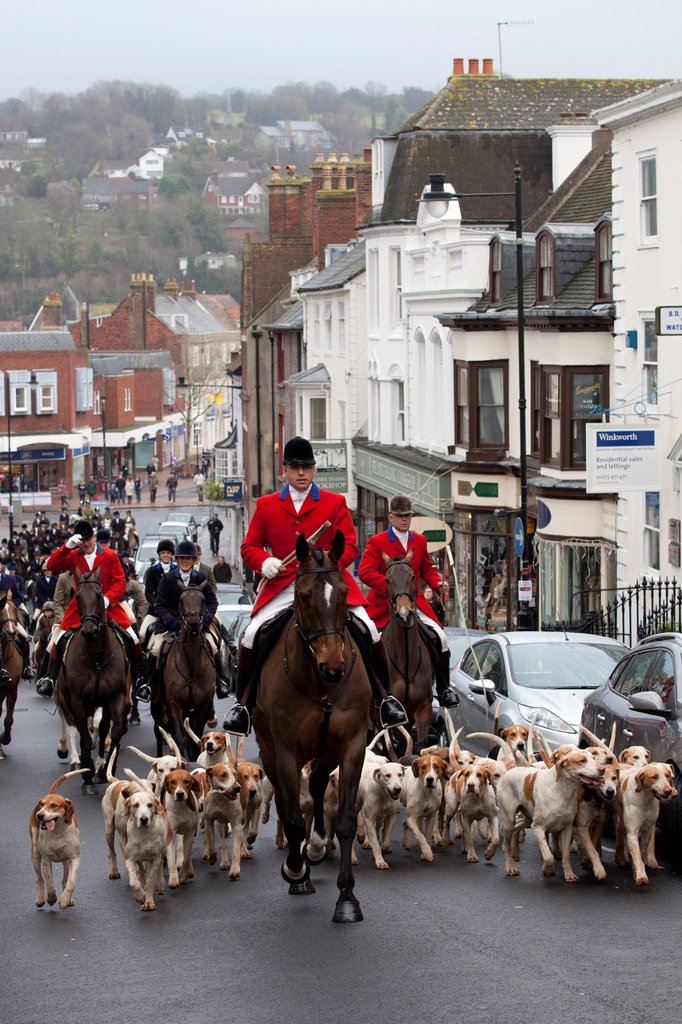 Stock Photo: 1566-1108693 The Southdown and Eridge Hunt at their annual boxing day meeting in Lewes, Sussex, England