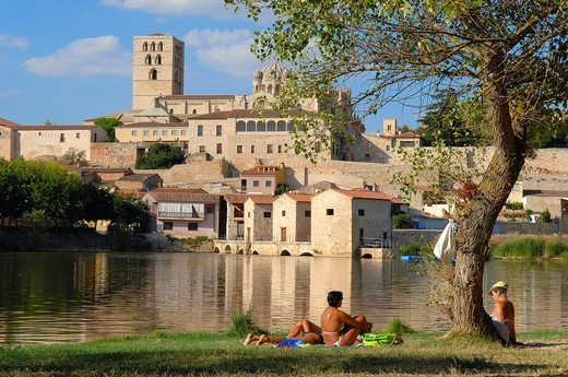 Cathedral and Duero river, Zamora, Silver Route, Castilla-Leon, Spain : Stock Photo