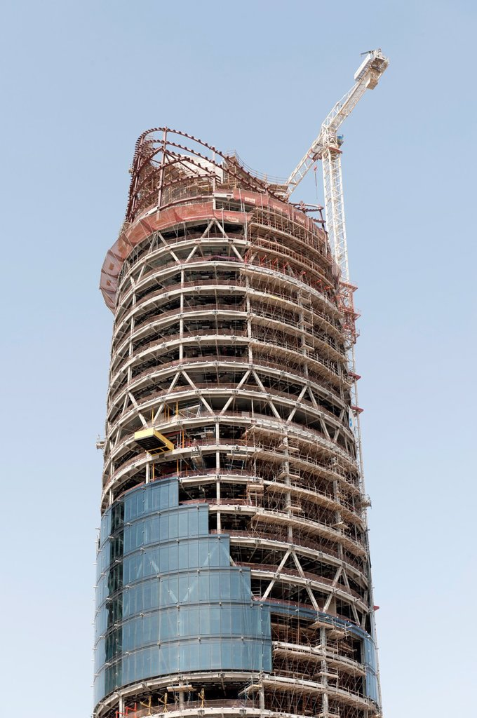 Construction of Al Bahr Towers in Abu Dhabi UAE by architect Aedas : Stock Photo