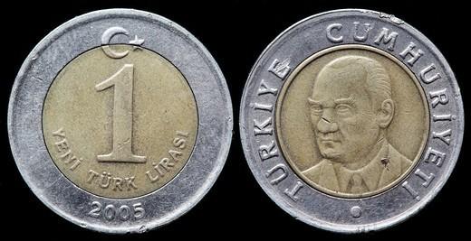 1 Lira coin, Turkey, 2005 : Stock Photo