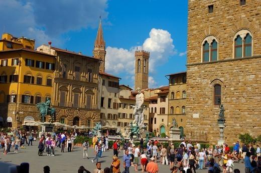 Florence, Neptune Fountain, La Signoria square, Piazza della Signoria, Tuscany, Italy. : Stock Photo