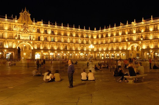 Plaza Mayor (main square), Salamanca, Castilla-Leon, Spain : Stock Photo
