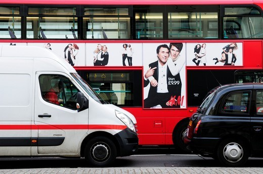 Stock Photo: 1566-1109794 London Bus, White Van and Taxi, The Strand, London, England, UK
