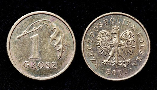 1 Grosz coin, Poland, 2000 : Stock Photo