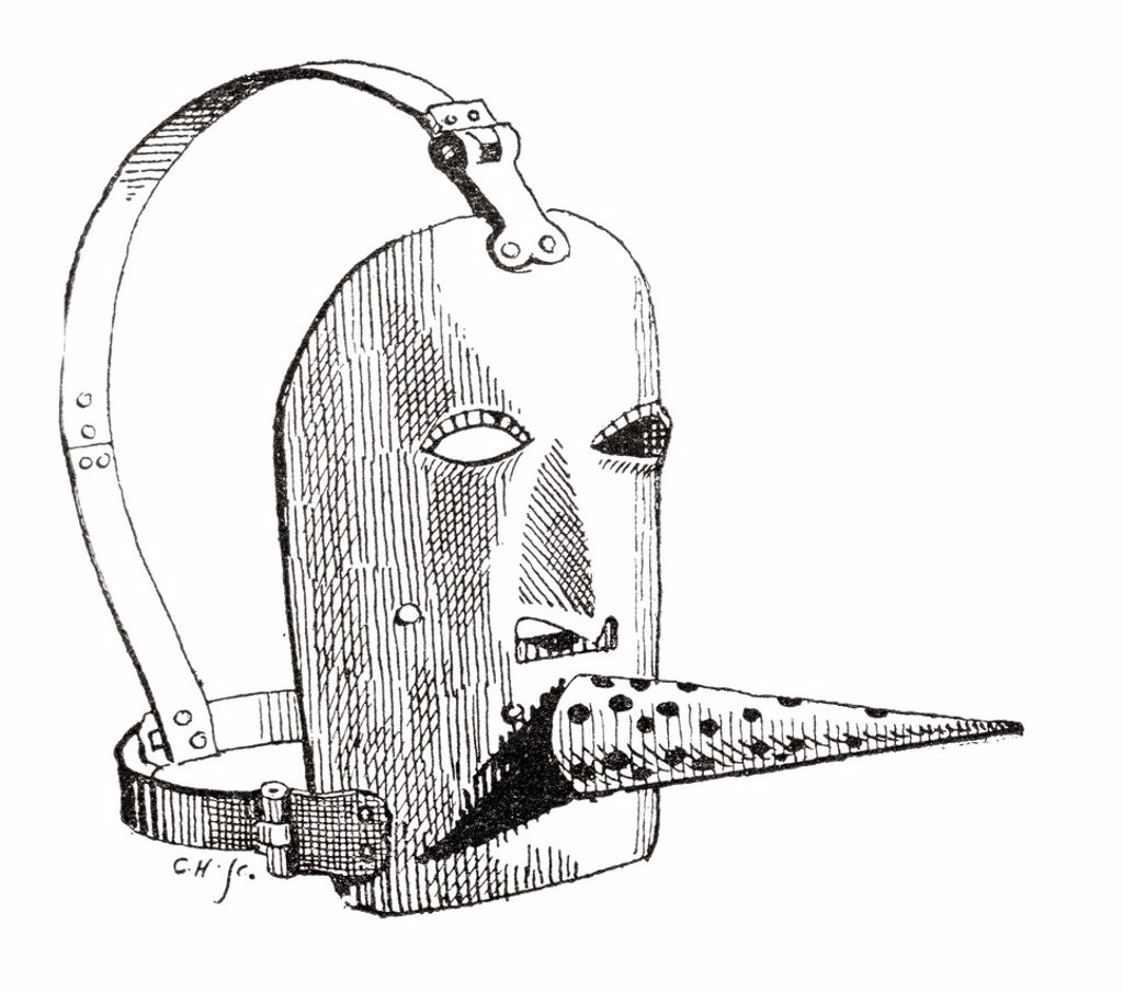 A 17th century Brank or muzzle  From The Strand Magazine published 1894 : Stock Photo
