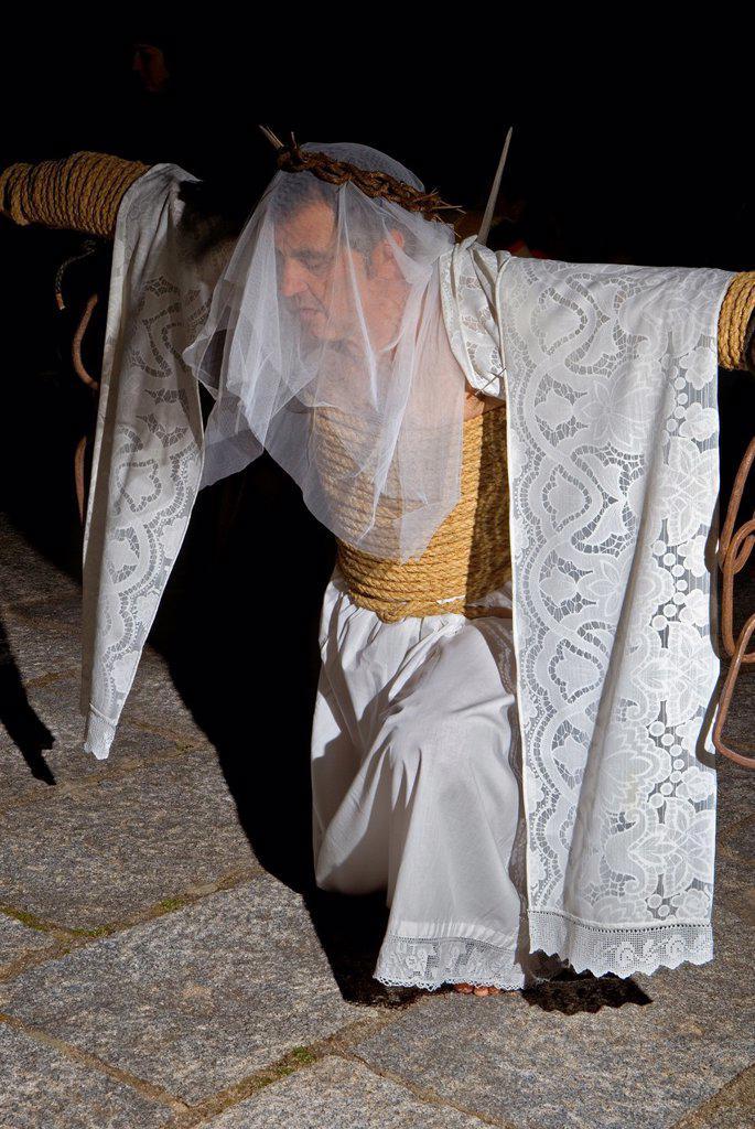 Stock Photo: 1566-1110552 ´Empalaos´ impaleds, Holy Week in Valverde de la Vera  Empalao Caceres province, Extremadura, Spain