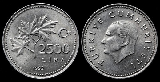 2500 Lira coin, Turkey, 1992 : Stock Photo