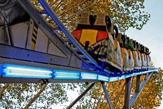 roller coasters, fairground attraction, Devesa Park, Sant festes Narcis´11, Girona, Catalonia, Spain. : Stock Photo
