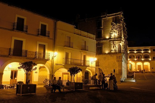 Plaza Mayor (Main Square) at dusk, Trujillo, Caceres province, Extremadura, Spain, Europe : Stock Photo