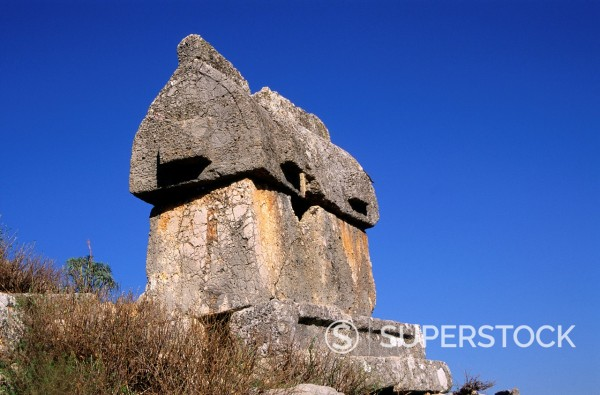 Stock Photo: 1566-1111223 Sarcophagus or Harpy tomb at Lycian city of Tlos, Turkey