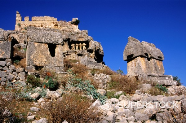 Rock tombs at the Lycian city of Tlos, Turkey : Stock Photo