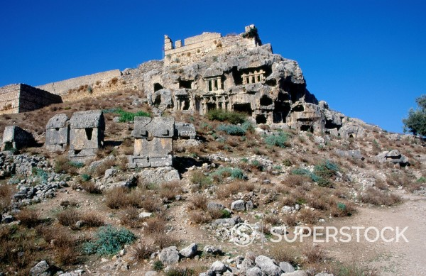 Stock Photo: 1566-1111225 Rock tombs at the Lycian city of Tlos, Turkey