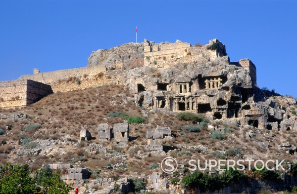 Stock Photo: 1566-1111226 Rock tombs at the Lycian city of Tlos, Turkey