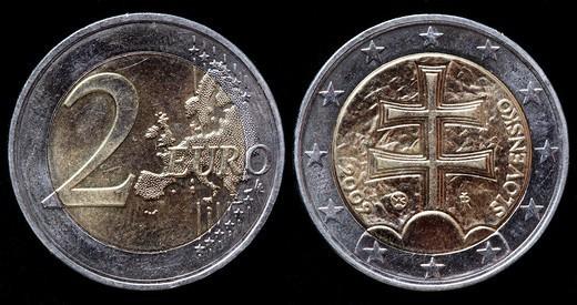 2 Euro coin, Slovakia, 2009 : Stock Photo