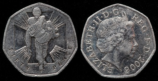 50 pence coin, UK, 2006 : Stock Photo