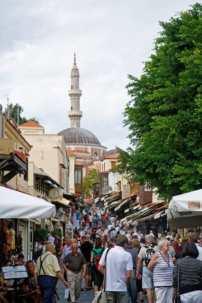 View over Sokratous st, also known as the long Bazzar, with Suleyman Cami Mosque at the end, Rhodes old Town, Rhodes, Greece : Stock Photo