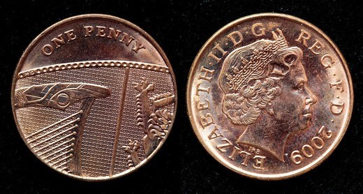 Stock Photo: 1566-1111947 1 penny coin, UK, 2009