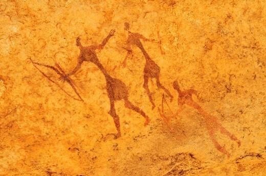 painted warriors or hunters, neolithic rockart at Tin Meskis, Adrar n´ Ahnet, Algeria, Sahara, North Africa : Stock Photo