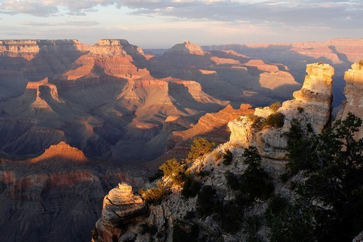 Sunset on the Grand Canyon National Park from Yaki Point, Arizona, USA : Stock Photo