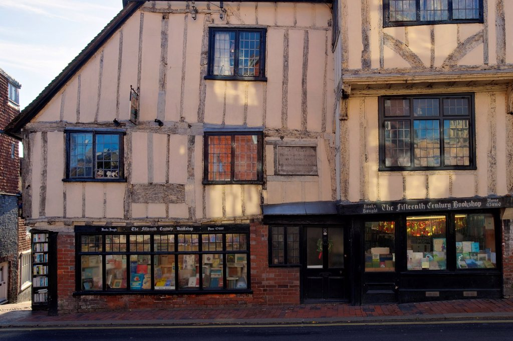The Fifteenth Century Bookshop, High Street, Lewes, Sussex, England, : Stock Photo