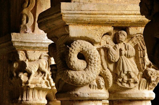Detail of capital depicting a Biblical scene in the cloister of the Romanesque collegiate church of Santillana del Mar, Way of St James, Cantabria, Spain : Stock Photo