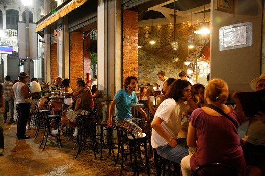 People at Boteco da Garrafa restaurant in Lapa, Rio de Janeiro, Brazil : Stock Photo