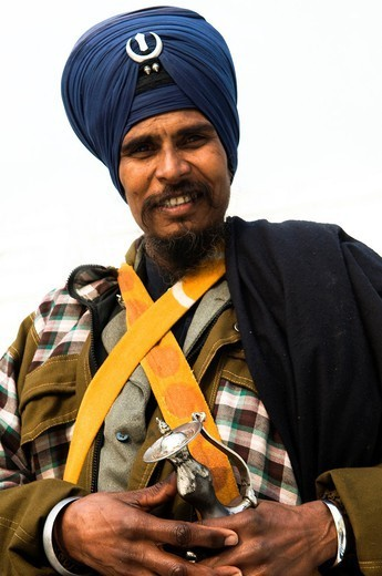 Portrait of a smiling Nihang! : Stock Photo