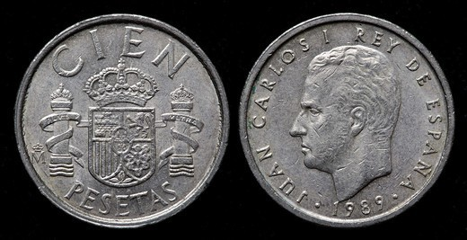 100 Pesetas coin, Spain, 1989 : Stock Photo