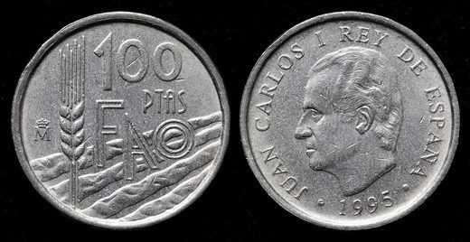 Stock Photo: 1566-1112696 100 Pesetas coin, Spain, 1995