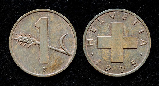 1 Rappen coin, Switzerland, 1995 : Stock Photo