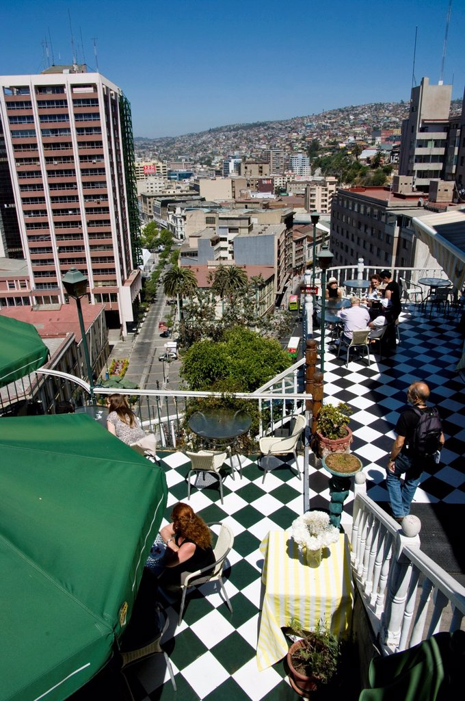 Stock Photo: 1566-1112965 Chile. Valparaiso city. Aerial view of city center. World heritage Site.
