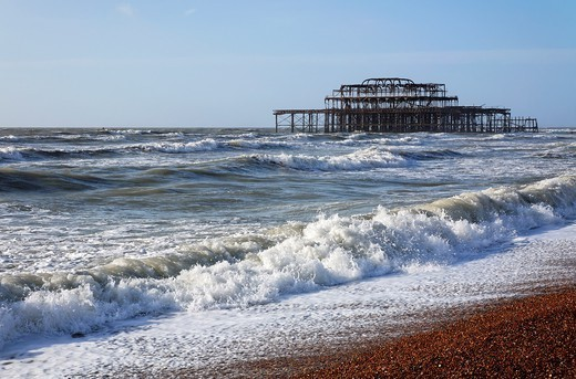 The coast and West Pier at Brighton, East Sussex, England : Stock Photo