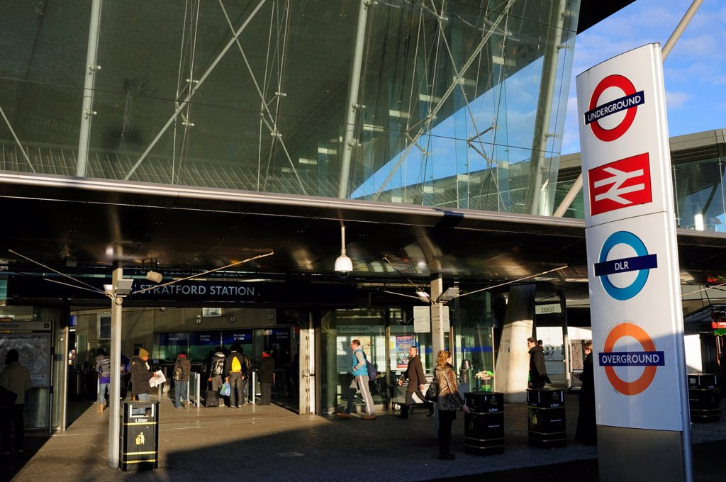 Stock Photo: 1566-1113967 Entrance to Stratford Station with Underground, National Rail, DLR and Overground Signs, London, England, UK