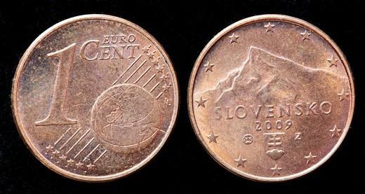 1 Euro cent coin, Slovakia, 2009 : Stock Photo