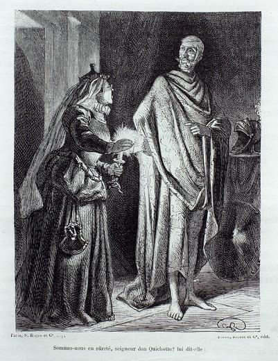 ´Sommes-nous en sûreté, seigneur don Quichotte lui dit-elle´, The Ingenious Gentleman Don Quixote of La Mancha by Miguel de Cervantes : Stock Photo