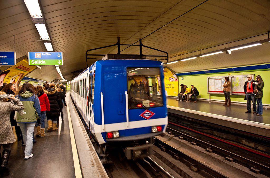 Stock Photo: 1566-1114560 Metro train car, Madrid, Spain